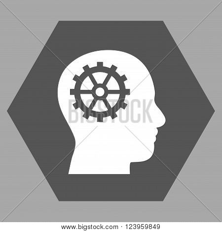 Intellect vector icon. Image style is bicolor flat intellect iconic symbol drawn on a hexagon with dark gray and white colors.