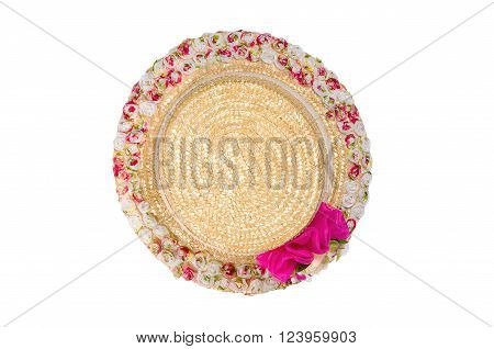 Pretty straw hat with flower isolated on white background. Clipping path