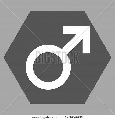 Male Symbol vector icon symbol. Image style is bicolor flat male symbol icon symbol drawn on a hexagon with dark gray and white colors.