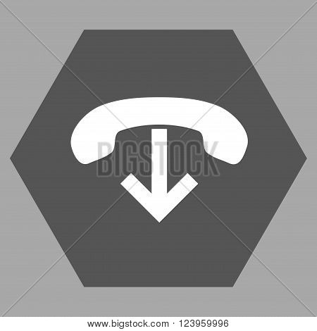 Phone Hang Up vector pictogram. Image style is bicolor flat phone hang up icon symbol drawn on a hexagon with dark gray and white colors.