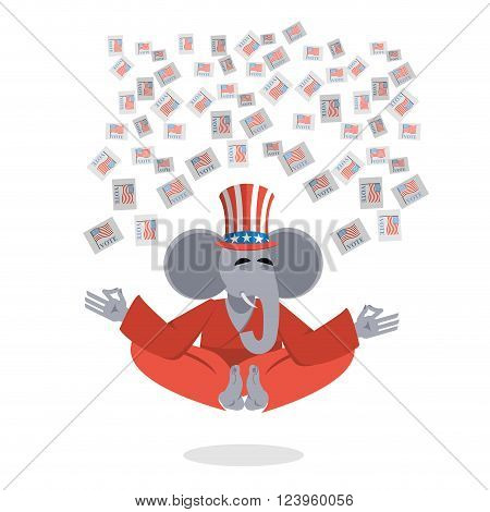 Republican Elephant Hat Uncle Sam Meditating Votes In Elections. Cheerful Polytypical Illustration.