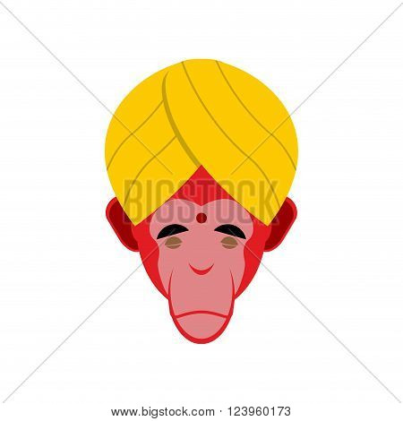 Monkey yoga in turban. Head of red Monkeys Indian yogi