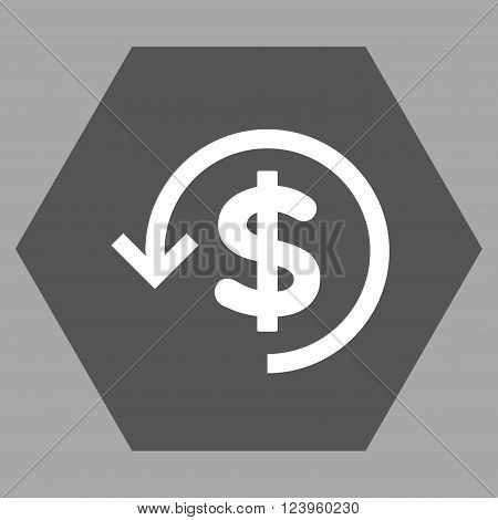 Refund vector symbol. Image style is bicolor flat refund iconic symbol drawn on a hexagon with dark gray and white colors.