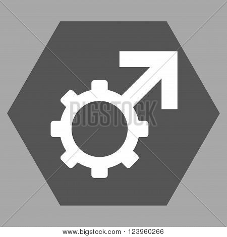 Technological Potence vector icon symbol. Image style is bicolor flat technological potence iconic symbol drawn on a hexagon with dark gray and white colors.