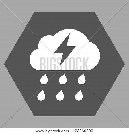 Thunderstorm vector pictogram. Image style is bicolor flat thunderstorm iconic symbol drawn on a hexagon with dark gray and white colors.