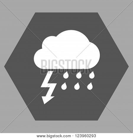 Thunderstorm vector icon symbol. Image style is bicolor flat thunderstorm icon symbol drawn on a hexagon with dark gray and white colors.