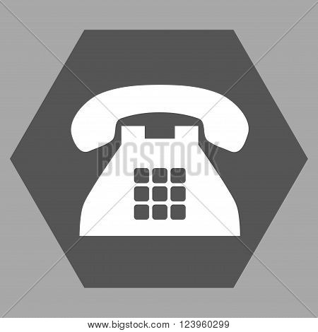 Tone Phone vector icon symbol. Image style is bicolor flat tone phone icon symbol drawn on a hexagon with dark gray and white colors.