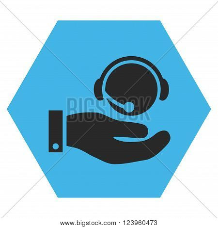 Call Center Service vector icon symbol. Image style is bicolor flat call center service pictogram symbol drawn on a hexagon with blue and gray colors.