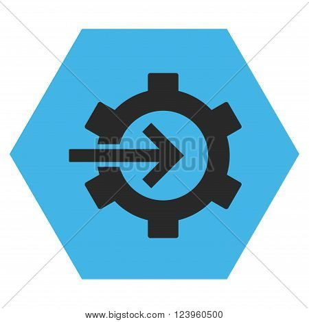 Cog Integration vector icon. Image style is bicolor flat cog integration iconic symbol drawn on a hexagon with blue and gray colors.