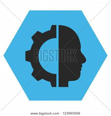 Cyborg Gear vector icon symbol. Image style is bicolor flat cyborg gear pictogram symbol drawn on a hexagon with blue and gray colors.