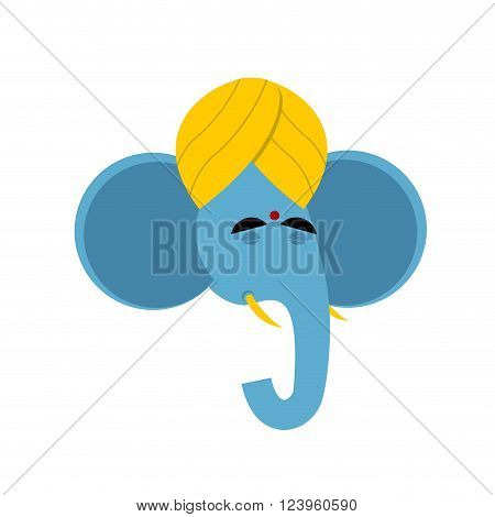 Lord Ganesha. Elephant Yoga. Indian Elephant God. Elephant In Turban. Head Blue Elephant On White Ba