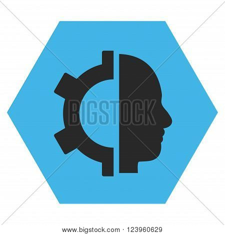 Cyborg Gear vector icon symbol. Image style is bicolor flat cyborg gear iconic symbol drawn on a hexagon with blue and gray colors.