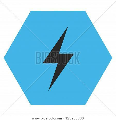 Electricity vector symbol. Image style is bicolor flat electricity iconic symbol drawn on a hexagon with blue and gray colors.
