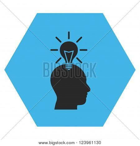 Genius Bulb vector icon symbol. Image style is bicolor flat genius bulb pictogram symbol drawn on a hexagon with blue and gray colors.