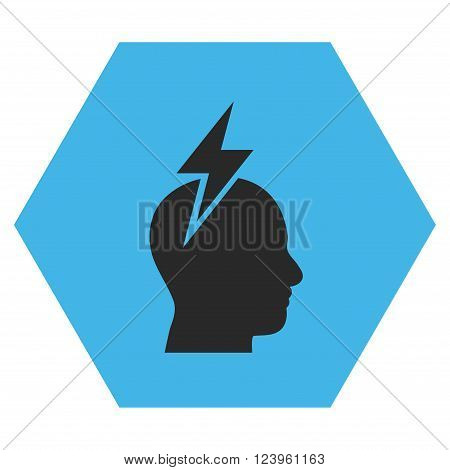 Headache vector symbol. Image style is bicolor flat headache icon symbol drawn on a hexagon with blue and gray colors.
