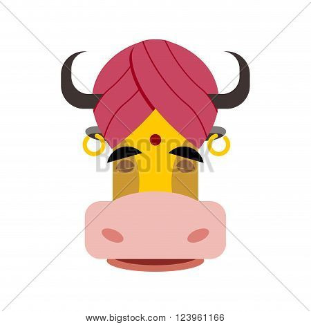 Indian Sacred Cow. Cow In Turban. Head Yellow Cow.