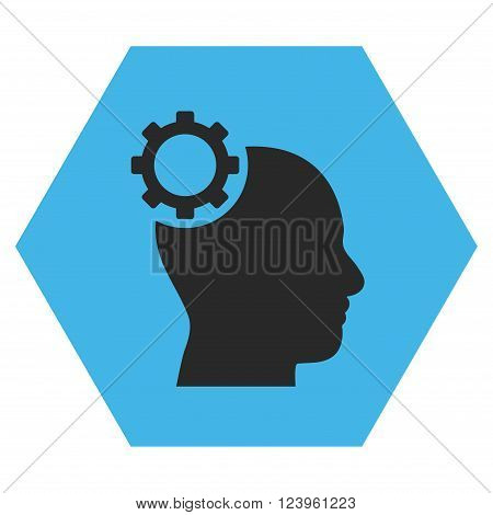Intellect Gear vector icon symbol. Image style is bicolor flat intellect gear pictogram symbol drawn on a hexagon with blue and gray colors.