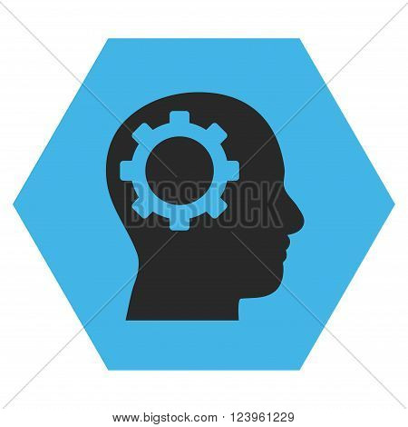 Intellect Gear vector icon symbol. Image style is bicolor flat intellect gear iconic symbol drawn on a hexagon with blue and gray colors.