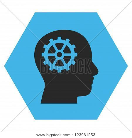 Intellect vector icon. Image style is bicolor flat intellect iconic symbol drawn on a hexagon with blue and gray colors.