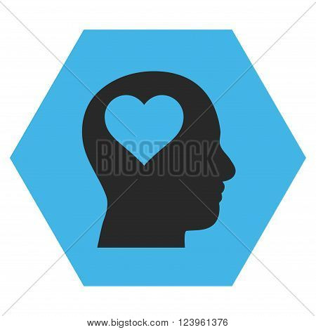 Lover Head vector icon. Image style is bicolor flat lover head iconic symbol drawn on a hexagon with blue and gray colors.