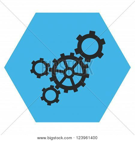 Mechanism vector icon. Image style is bicolor flat mechanism icon symbol drawn on a hexagon with blue and gray colors.