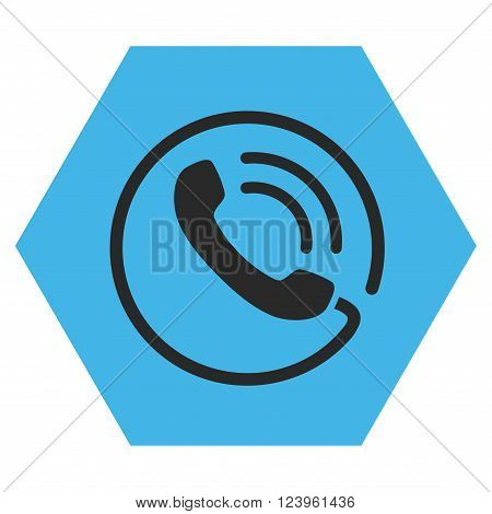 Phone Call vector symbol. Image style is bicolor flat phone call pictogram symbol drawn on a hexagon with blue and gray colors.