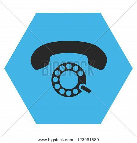 Pulse Dialing vector pictogram. Image style is bicolor flat pulse dialing pictogram symbol drawn on a hexagon with blue and gray colors.