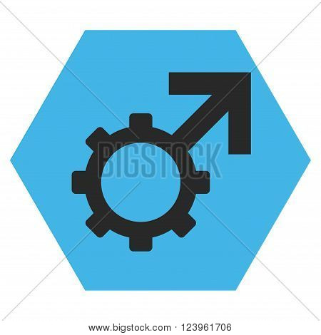 Technological Potence vector pictogram. Image style is bicolor flat technological potence iconic symbol drawn on a hexagon with blue and gray colors.