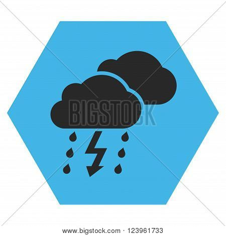 Thunderstorm vector icon symbol. Image style is bicolor flat thunderstorm icon symbol drawn on a hexagon with blue and gray colors.