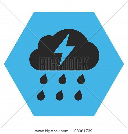 Thunderstorm vector icon. Image style is bicolor flat thunderstorm icon symbol drawn on a hexagon with blue and gray colors.