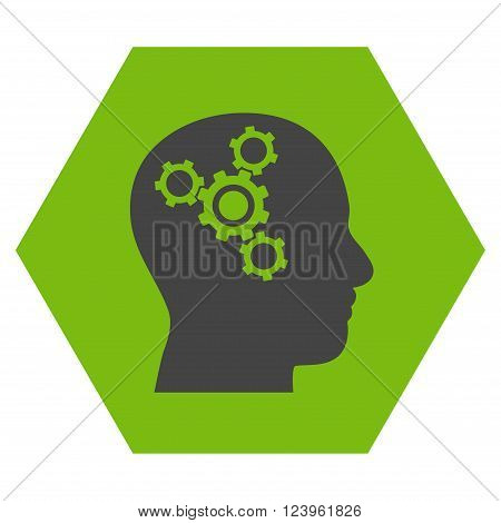 Brain Mechanics vector icon symbol. Image style is bicolor flat brain mechanics iconic symbol drawn on a hexagon with eco green and gray colors.