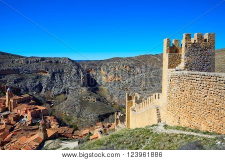 Albarracin medieval town fortress rampart village at Teruel Spain