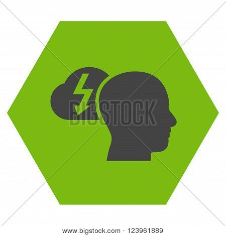 Brainstorming vector symbol. Image style is bicolor flat brainstorming iconic symbol drawn on a hexagon with eco green and gray colors.