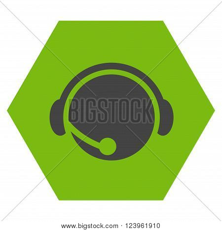 Call Center Operator vector icon symbol. Image style is bicolor flat call center operator icon symbol drawn on a hexagon with eco green and gray colors.