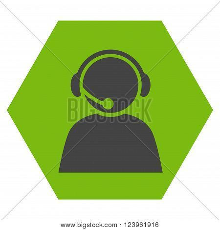 Call Center Operator vector icon symbol. Image style is bicolor flat call center operator iconic symbol drawn on a hexagon with eco green and gray colors.