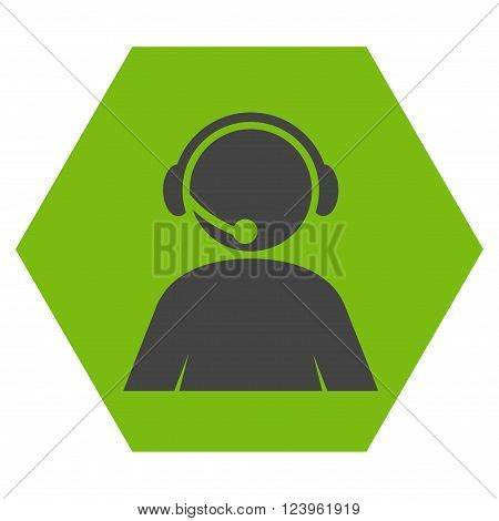 Call Center Operator vector symbol. Image style is bicolor flat call center operator pictogram symbol drawn on a hexagon with eco green and gray colors.