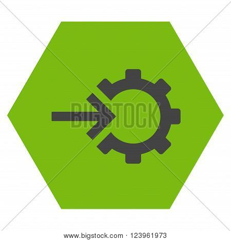 Cog Integration vector pictogram. Image style is bicolor flat cog integration iconic symbol drawn on a hexagon with eco green and gray colors.