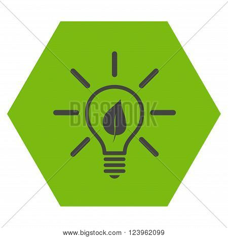 Eco Light Bulb vector pictogram. Image style is bicolor flat eco light bulb pictogram symbol drawn on a hexagon with eco green and gray colors.