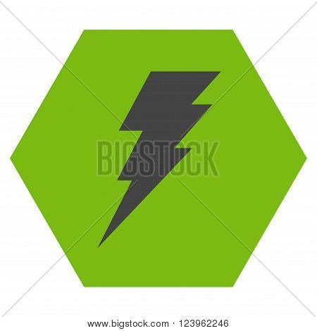 Execute vector icon symbol. Image style is bicolor flat execute icon symbol drawn on a hexagon with eco green and gray colors.