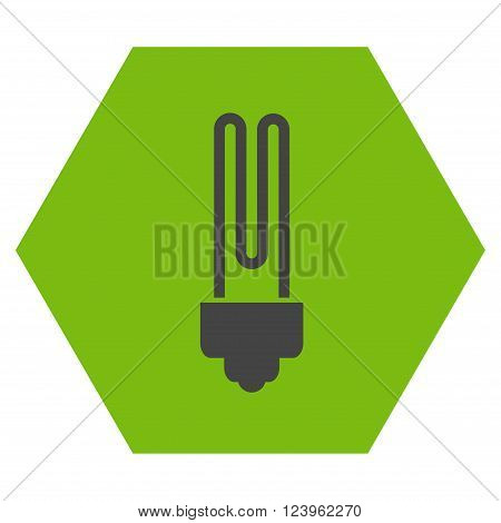 Fluorescent Bulb vector icon symbol. Image style is bicolor flat fluorescent bulb icon symbol drawn on a hexagon with eco green and gray colors.
