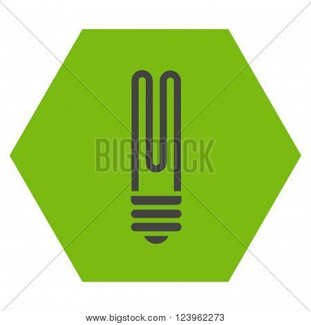 Fluorescent Bulb vector symbol. Image style is bicolor flat fluorescent bulb iconic symbol drawn on a hexagon with eco green and gray colors.