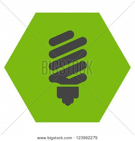 Fluorescent Bulb vector icon symbol. Image style is bicolor flat fluorescent bulb iconic symbol drawn on a hexagon with eco green and gray colors.