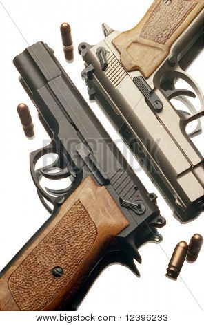 two 9 mm handguns