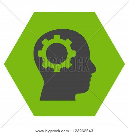 Intellect Gear vector icon symbol. Image style is bicolor flat intellect gear icon symbol drawn on a hexagon with eco green and gray colors.