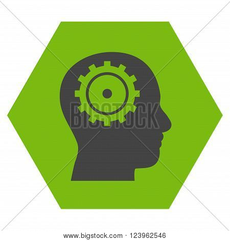 Intellect vector symbol. Image style is bicolor flat intellect icon symbol drawn on a hexagon with eco green and gray colors.
