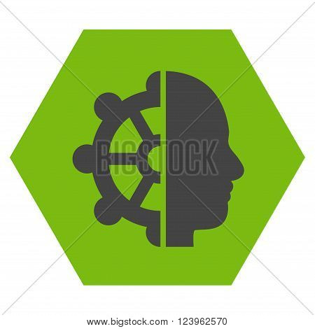 Intellect vector icon. Image style is bicolor flat intellect pictogram symbol drawn on a hexagon with eco green and gray colors.