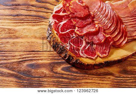 Tapas Iberico ham and lomo sausage from Spain