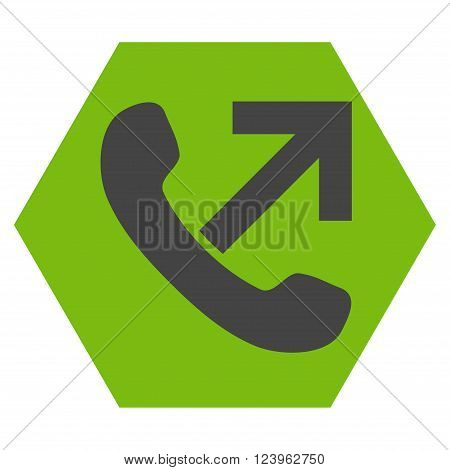 Outgoing Call vector pictogram. Image style is bicolor flat outgoing call iconic symbol drawn on a hexagon with eco green and gray colors.