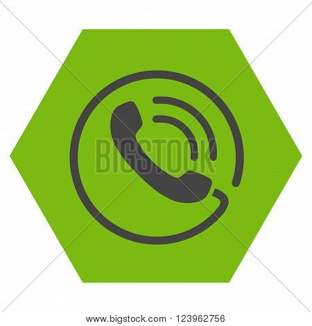 Phone Call vector symbol. Image style is bicolor flat phone call iconic symbol drawn on a hexagon with eco green and gray colors.