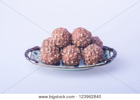 Chocolate Ball Or Handmade Chocolates Ball On Background.